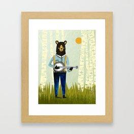 Bear's Bourree - Bear Playing Banjo Framed Art Print