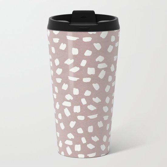 Simply Ink Splotch Lunar Gray on Clay Pink Metal Travel Mug