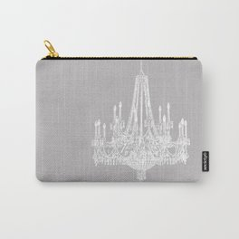 Chic White and Gray Chandelier   Carry-All Pouch