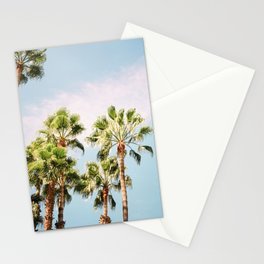 Green palm trees on blue | Marrakech travel photography | Colorful film photo art Stationery Cards