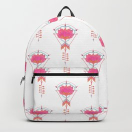 Sacred Lotus:  Pink lotus with geometric symbols on white Backpack