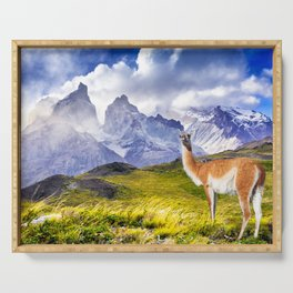 Patagonia landscape in Torres del Paine, Chile Serving Tray