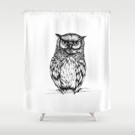 Inked Owl Shower Curtain
