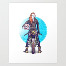 Woman Power rider motorcycle Art Print