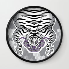 TIBETAN TIGER WHITE (white) Wall Clock