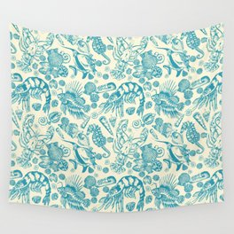 Ocean Sea Critters on White Background Wall Tapestry