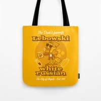 lebowski Tote Bags featuring The Big Lebowski by Giovanni Costa