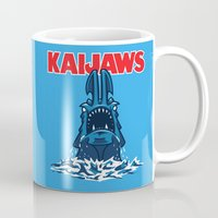 pacific rim Mugs featuring KaiJaws (Pacific Rim/Jaws) by Tabner's