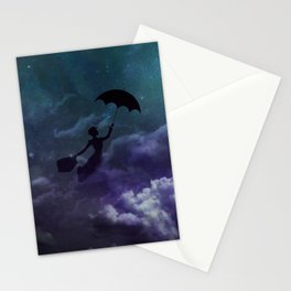 Mary Poppins in the sky with diamonds Stationery Cards