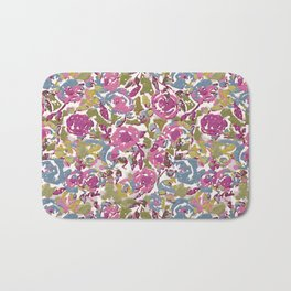 Painted Abstract Florals Bath Mat