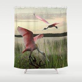 The Spoonbills of Lake Saint George Shower Curtain
