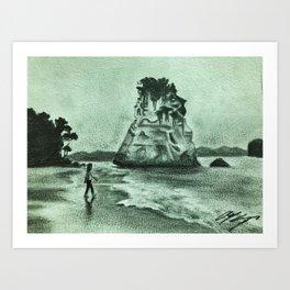 Coromandel, New Zealand drawing Art Print