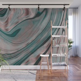 Shiny Rose Gold And Teal Marble Gemstone Wall Mural