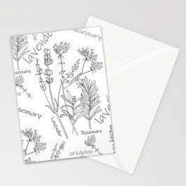 Summer herbs line drawing Stationery Cards