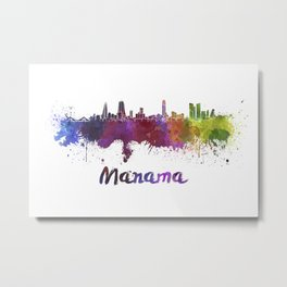 Manama skyline in watercolor Metal Print
