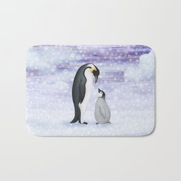 emperor penguins in the snow Bath Mat