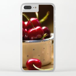 Red Cherries on the table Clear iPhone Case