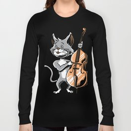 Cat Cello Shirt Cute Orchestra Kitten Music fans Long Sleeve T-shirt