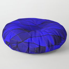 Mirrored gradient shards of curved blue intersecting ribbons and horizontal lines. Floor Pillow