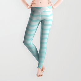 Pale Turquoise And White Faded Chevron Waves Leggings