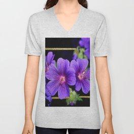 Purple Petunias Unisex V-Neck