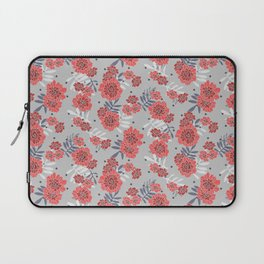 Crimson and Silver Floral Laptop Sleeve
