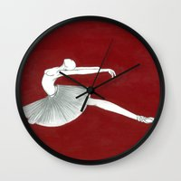 ballerina Wall Clocks featuring Ballerina by Nadina Embrey - Artist / Illustrator