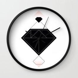 Tangram Diamond Linework Black Wall Clock