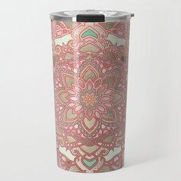 Rose gold cyan mandala Travel Mug