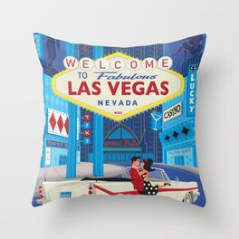Vegas Baby by Art of Scooter Mid Century Modern inspired art and merchandise  Throw Pillow