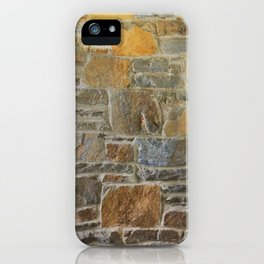 Avondale Brown Stone Wall and Mortar Texture Photograph iPhone Case