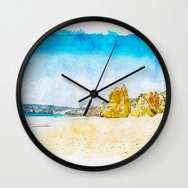 Aquarelle sketch art. Beach Praia da Rocha in Portimao, Algarve region, Portugal Wall Clock