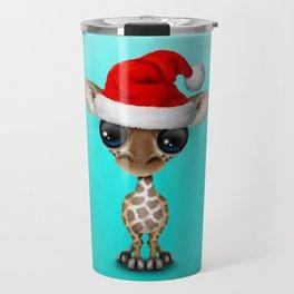 Christmas Giraffe Wearing a Santa Hat Travel Mug