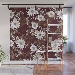 Elegant burgundy white faux gold modern flowers Wall Mural
