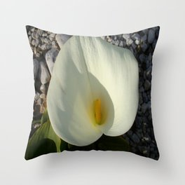 Overhead View of A White Calla Lily Against Pebbles Throw Pillow