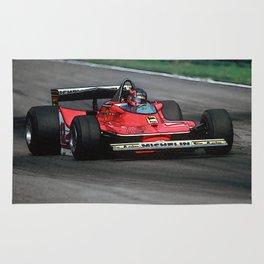 Sketch of F1 Champion Gilles Villeneuve - year 1979 car 312 T4 Rug