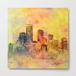Abstract City Scape Digital Art Metal Print