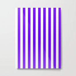 Narrow Vertical Stripes - White and Indigo Violet Metal Print