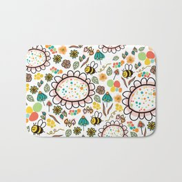 Busy Doodle Bees and Flowers Pattern Bath Mat