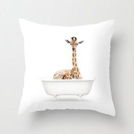 Skeptic Giraffe in a Vintage Bathtub (c) Throw Pillow