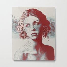 Ayil: Red Shadow | vintage lady portrait | zentangle mandala drawing Metal Print