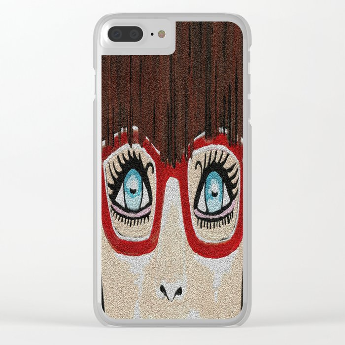 The Girl With The Red Glasses Clear iPhone Case