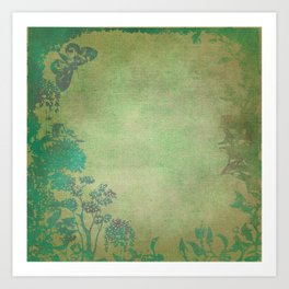 Grunge Garden Canvas Texture:  Green and Teal Butterfly Floral Art Print