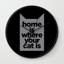 Home Is Where Your Cat Is Wall Clock