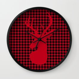 Red Plaid Deer Stag Design Wall Clock