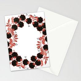 Black berry khokhloma Stationery Cards