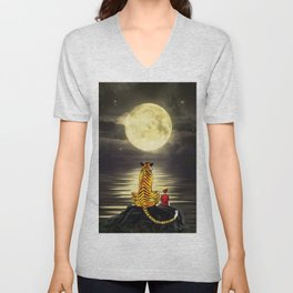 both with bright moon Unisex V-Neck