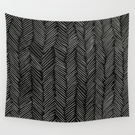 Herringbone Cream on Black Wall Tapestry