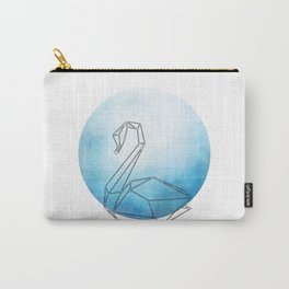 Geometric Swan In Thin Stipes On Circle Background Carry-All Pouch