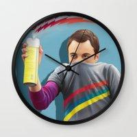 bazinga Wall Clocks featuring Sheldon  - BAZINGA! by ShannonPosedenti